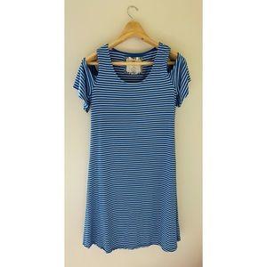 Blue white striped off shoulder Cupio Dress